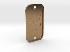 Taurus (The Bull) DogTag V4 in Natural Brass