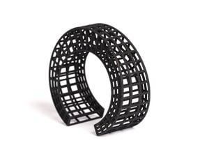 Large geometric cuff bracelet statement jewelry ar in Black Natural Versatile Plastic: Small
