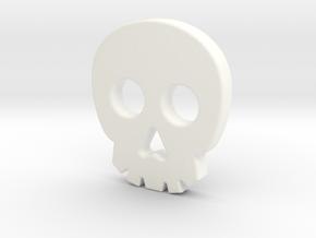 Skull Button in White Processed Versatile Plastic