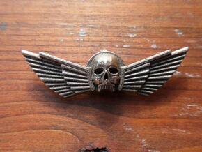 Winged Skull Pendant 6Cm in White Natural Versatile Plastic