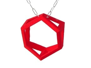 Trapezoid Ring Pendant in Red Processed Versatile Plastic