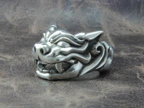 "Fu Dog (Komainu) ""a"" Ring in Polished Silver: 10 / 61.5"