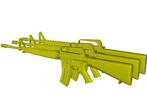 1/18 scale Colt M-16A1 rifles x 3 in Smooth Fine Detail Plastic