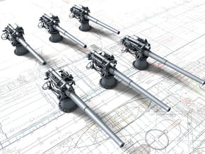 """1/350 British 4""""/50 (10.2 cm) BL Mark VII Gun x6 in Smoothest Fine Detail Plastic"""