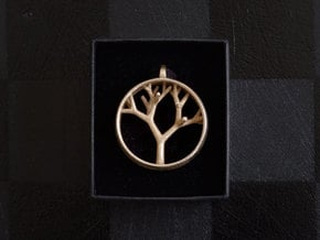 Natural Collection - Tree Pendant in Polished Bronzed Silver Steel