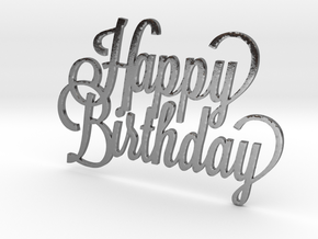 Happy birthday cake topper in Polished Silver