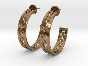 Carved Hoop Earrings in Natural Brass