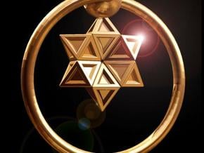 Keyring with Star of David in Polished Gold Steel