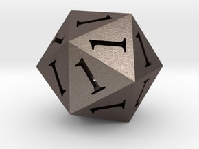All Ones D20 in Polished Bronzed Silver Steel