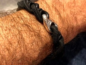 S- Chain bracelet .472 dia. master link in Fine Detail Polished Silver