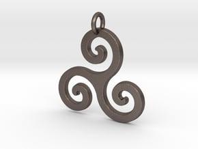 Triskele Triple Spiral Celtic Pendant in Polished Bronzed Silver Steel