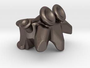 Vertabrae Bead in Polished Bronzed Silver Steel: Medium