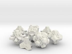 Brutalist Dice Set — Version 2 (8 pc.) in White Natural Versatile Plastic
