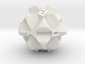 Brutalist Dice Set — Version 2 Singles in White Natural Versatile Plastic: d12