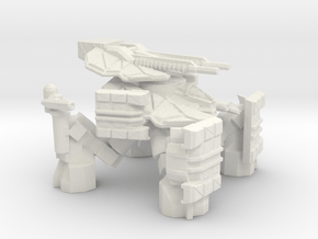 Quad Mech with Twin Cannon Turret in White Natural Versatile Plastic