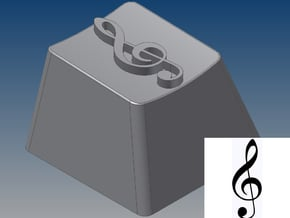 Treble Clef Keycap (R4, 1x1) in White Natural Versatile Plastic