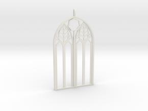 Neo-Gothic Arch Pendant in White Natural Versatile Plastic