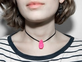 Hands Up pendant in Pussy Pink & other colours in Pink Processed Versatile Plastic: Small