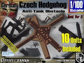 1/100 Anti-Tank Hedgehog set001 in White Natural Versatile Plastic