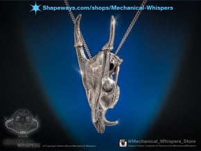 Muntjac Skull Pendant in Polished Nickel Steel