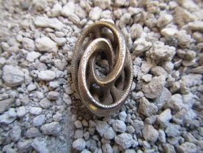 Oblong Interlocked Mobius in Polished Bronzed Silver Steel