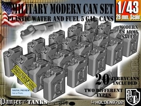 1/43 Military Fuel+Water Can Set401 in Smooth Fine Detail Plastic
