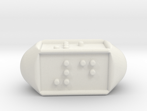 Braille Four-sided Die d4 in White Natural Versatile Plastic