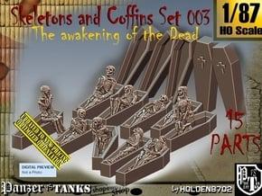 1/87 Skeleton+Coffins Set003 in Smooth Fine Detail Plastic