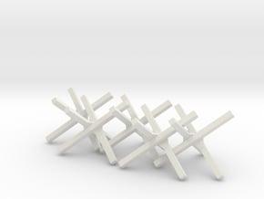 Hedgehog Barrier Ver01. O Scale (1:48) in White Natural Versatile Plastic