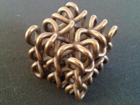 3D Celtic Knot, small, seed 2, thick, 1 shell in Polished Bronze Steel