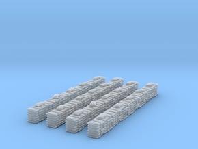4 Sandbag Walls for 1/400 in Smooth Fine Detail Plastic
