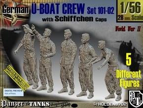 1/56 German U-Boot Crew Set101-02 in Smooth Fine Detail Plastic