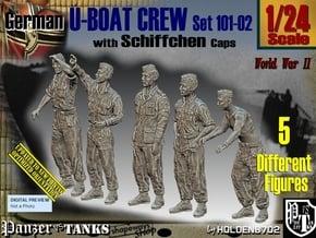 1/24 German U-Boot Crew Set101-02 in White Natural Versatile Plastic