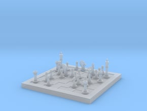 1/18 Scale Chess Board Mid-game (v02) in Smooth Fine Detail Plastic