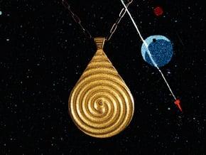 Two Black Holes Teardrop Pendant in Polished Gold Steel