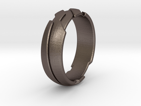 GD Ring - Edge in Polished Bronzed Silver Steel: 1.5 / 40.5