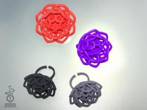 Transcendence Lotus Ring, adjustable size medium in White Natural Versatile Plastic