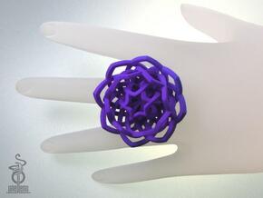 Transcendence Lotus Ring, adjustable size large in White Natural Versatile Plastic