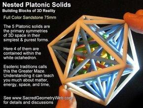 Nested Platonics White 100mm in Full Color Sandstone