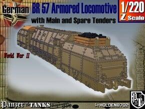 Z 1-220 BR 57 Armored Loco + 2 Tenders For BP-42 in White Natural Versatile Plastic