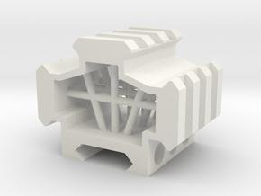 Picatinny rail splitter to 3 - 3 slot in White Natural Versatile Plastic