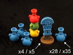 Mayan tech/temple & score tokens (32 - 40 pcs) in White Processed Versatile Plastic: Medium