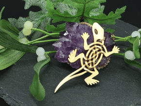 Celtic Lizard Pendant in Natural Brass