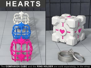 """Portal ® """"Hearts"""" for the Companion Cube Ring Box in Pink Processed Versatile Plastic"""