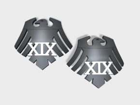 60x Raven 19 - (L&R) Shoulder Insignia pack in Smooth Fine Detail Plastic