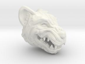 Oni-Tiger Miniature Decorative Noh Mask in White Natural Versatile Plastic: Small