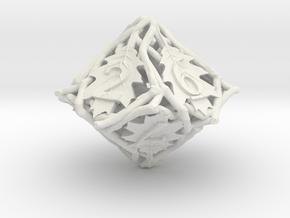 Botanical d10 (Oak) in White Natural Versatile Plastic