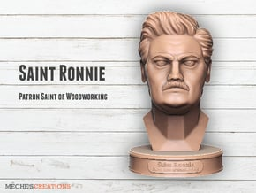 Saint Ronnie - Patron Saint of Woodworking in Natural Sandstone