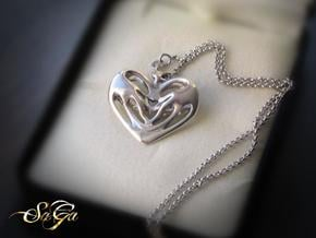Papillon Hearts Pendant in Polished Silver