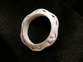 Flower Ring (Size: 7.5) in White Natural Versatile Plastic